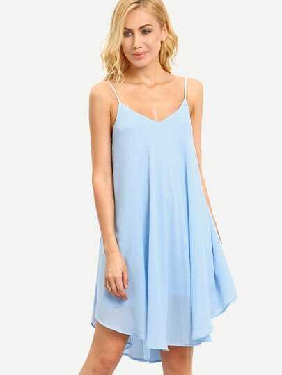 Light Blue Spaghetti Strap Asymmetrical Shift Dress