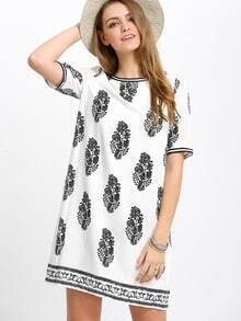 Black White Print Short Sleeve Shift Dress