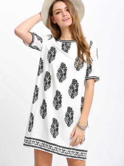 Black White Print Short Sleeve Shift Dress