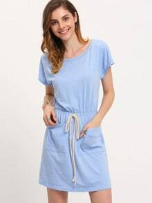 Light Blue Short Sleeve Tie Waist Pockets Dress
