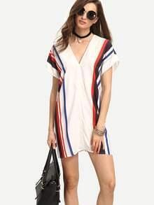 White Print Short Sleeve V Neck Shift Dress