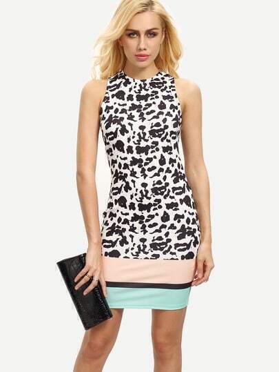 Multicolor Print Sleeveless Bodycon Dress