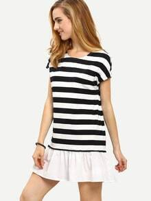 Black White Striped Short Sleeve Ruffle Dress