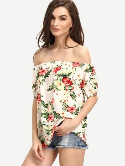 Off The Shoulder Flower Print Blouse