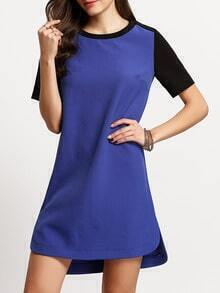 Blue Short Sleeve Dip Hem T-shirt Dress