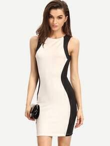 Black White Sleeveless Bodycon Dress