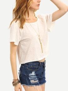 Beige Short Sleeve Crop T-shirt