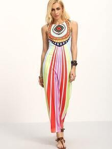 Multicolor Print Sleeveless Maxi Dress
