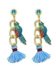 Blue Bird Tassel Drop Earrings