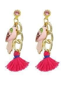 Hotpink Bird Tassel Drop Earrings