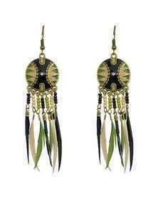 Long Drop Black Feather Earrings