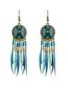 Long Drop Bluegreen Feather Earrings