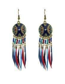 Long Drop Darkblue Feather Earrings