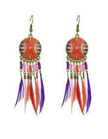 Long Drop Redpink Feather Earrings