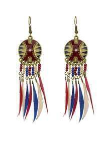 Long Drop Winered Feather Earrings