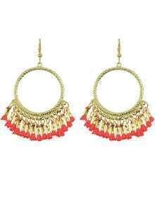 Red Tassel Chandelier Earrings