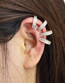 Gold Rhinestone Cuff Earrings