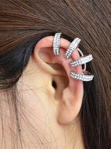 Silver Rhinestone Cuff Earring