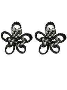 Black Small Flower Earrings