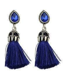 Blue Long Tassel Earrings