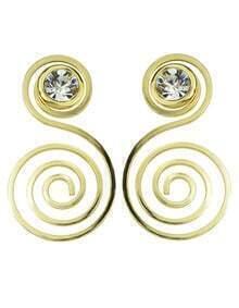Gold Rhinestone Hanging Stud Earrings