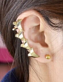 Gold Plated Long Ear Cuff Earring
