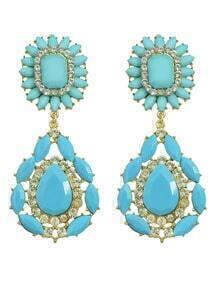 Blue Flower Statement Earrings
