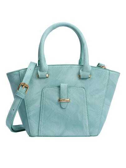 Marble Print Trapezoid Tote Bag - Mint Green