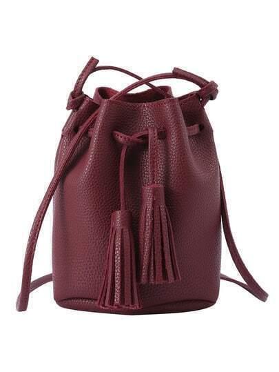 Tassel Drawstring Bucket Bag - Burgundy