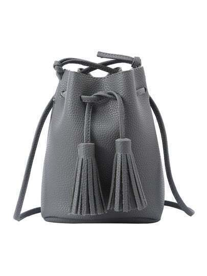 Tassel Drawstring Bucket Bag - Grey