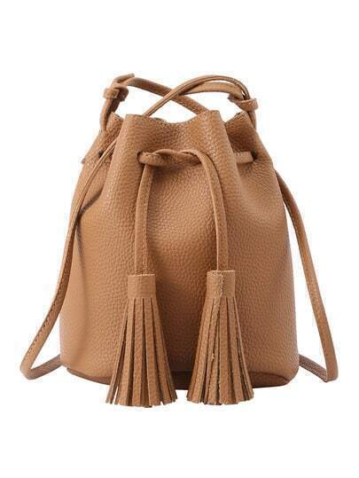 Tassel Drawstring Bucket Bag - Brown