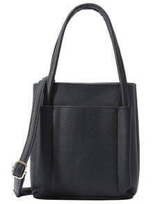 Embossed Square Tote Bag - Black