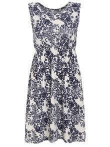Flower Print Elastic Waist Sleeveless Dress