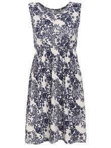 Flower Print Elastic Waist Sleeveless Dress