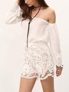 Off-The-Shoulder Hollow Out Lace Romper