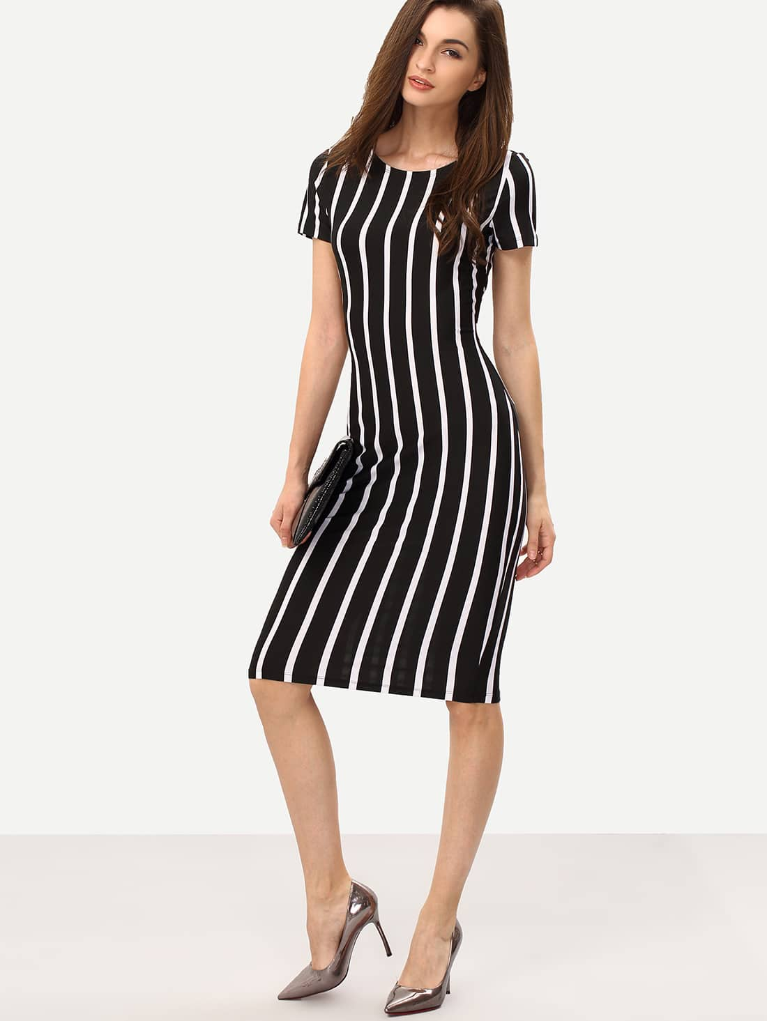 vertical striped long sheath dress sheinsheinside