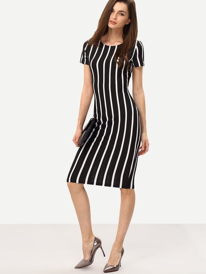 Vertical Striped Long Sheath Dress