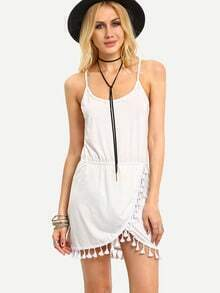 Asymmetric Tassel Trimmed Cami Dress