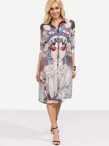Peking Opera Face Print Shirt Dress