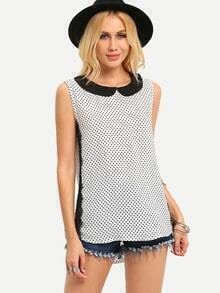 Peter Pan Collar Polka Dot Print Sleeveless Top