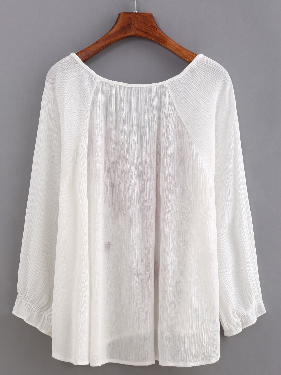 Embroidery Tassel-Tie Neck Blouse -SheIn(Sheinside)