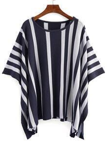 Vertical Striped Poncho Blouse - Blue