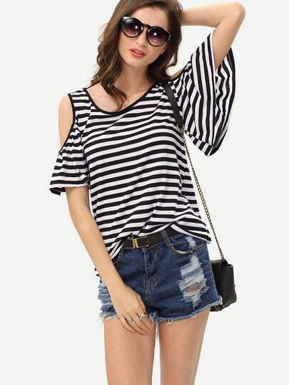 Cutout Shoulder Striped T-shirt