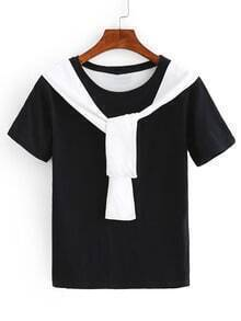 Faux Sleeve-Tie Neck T-shirt