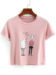 Sheep Print Crop T-shirt