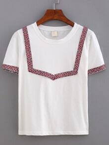 Embroidery Short Sleeve T-shirt - Red