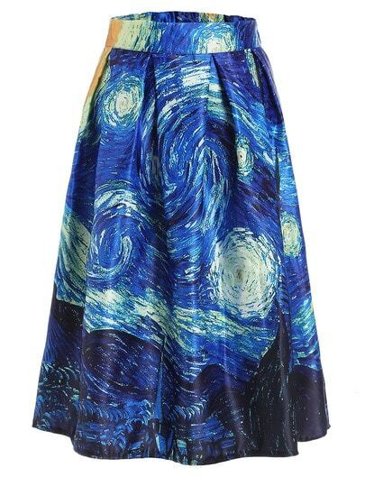 The Starry Night Print Box Pleated Skirt