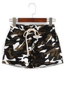 Drawstring Waist Camouflage Shorts
