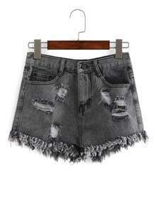 Distressed Grey Denim Shorts