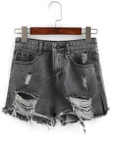 Ripped Black Denim Shorts